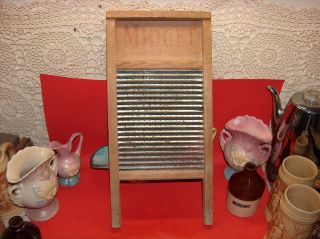 Vtg Old Small National 442 Midget Washboard Wood & Metal Shabby Primitive Decor photo