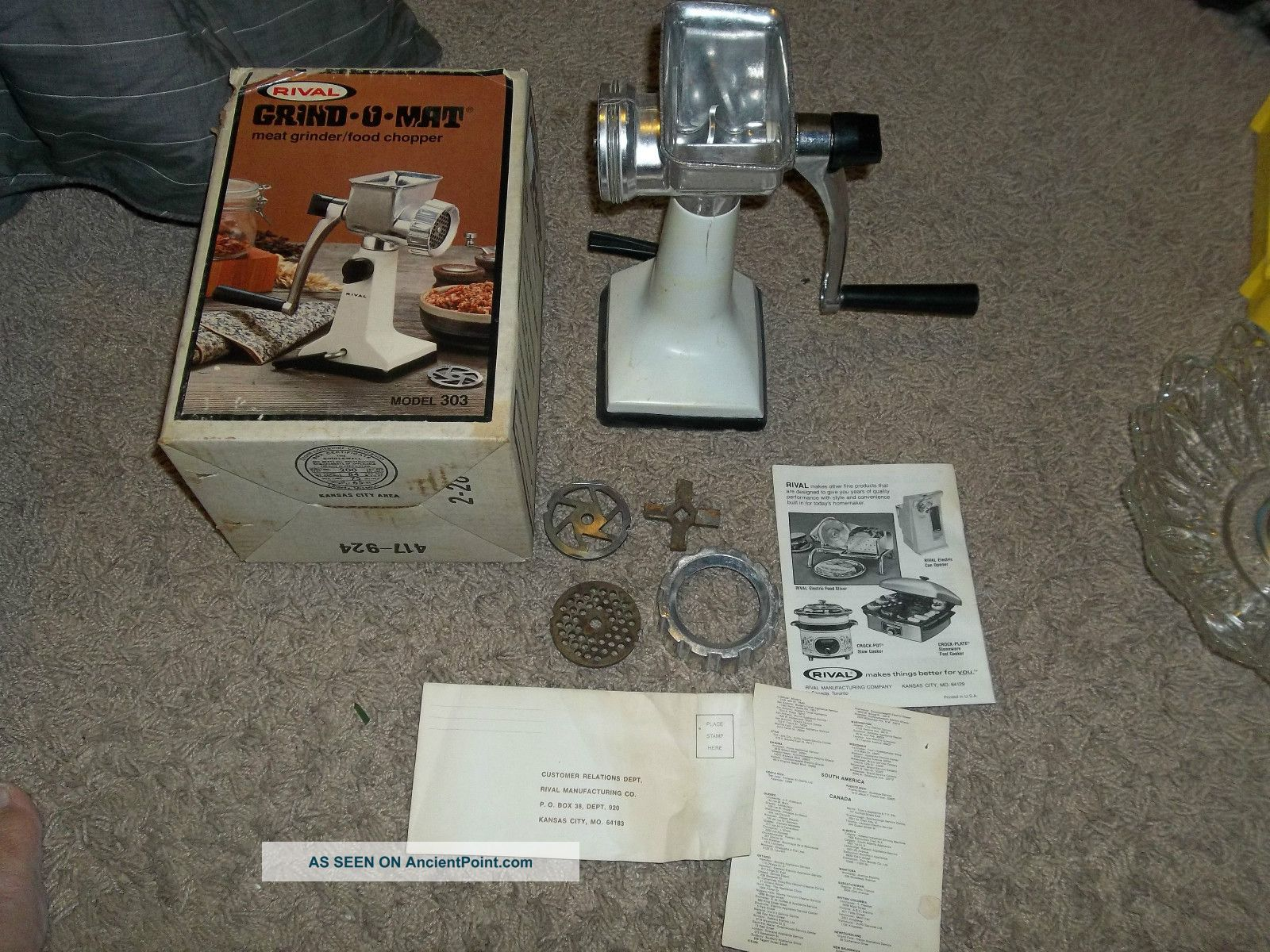 Rival Grind O Mat Meat Grinder / Food Chopper Meat Grinders photo