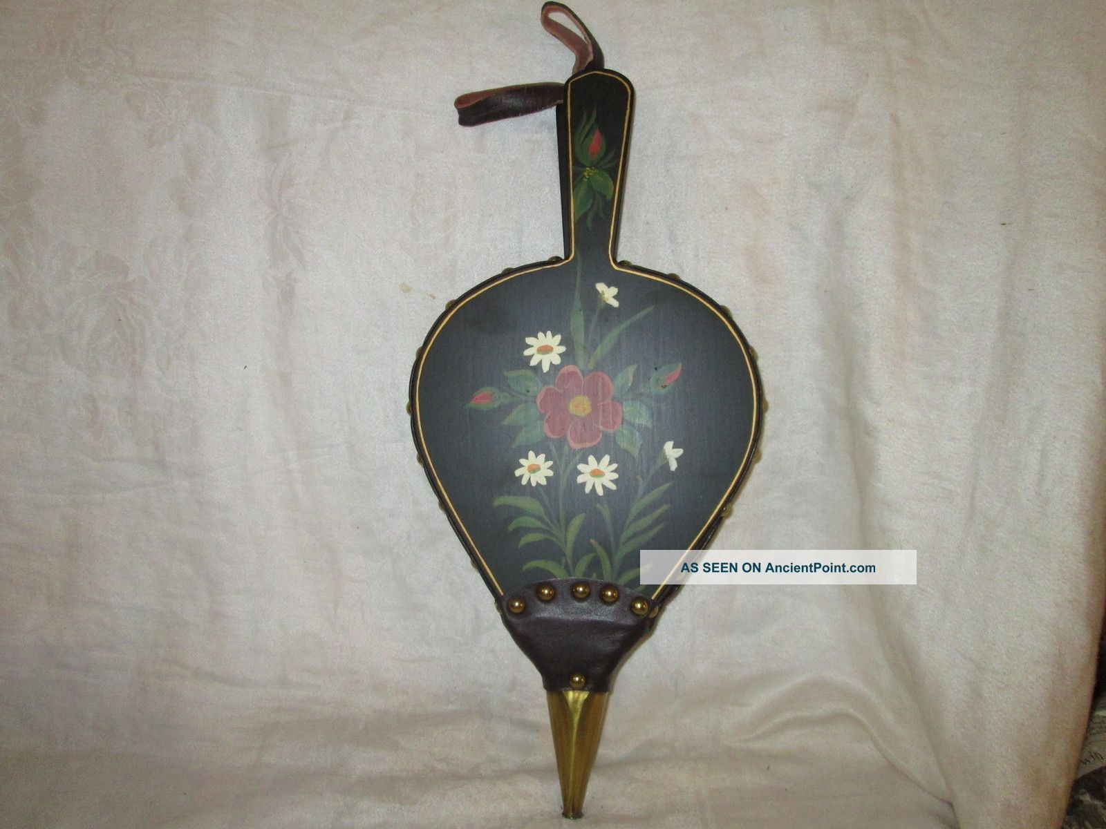Vintage Fireplace Bellow Hearth Bellows Hand Painted Folk Art Country Woodstove Hearth Ware photo