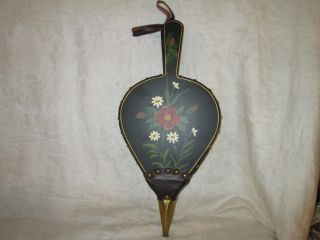 Vintage Fireplace Bellow Hearth Bellows Hand Painted Folk Art Country Woodstove photo