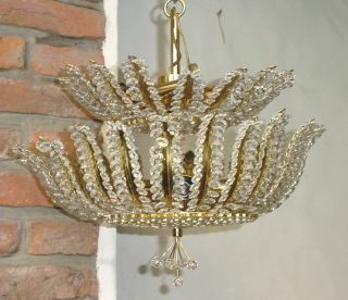 Gold Wash Metal Crystal Rock Beads Beaded Chandelier 16 photo