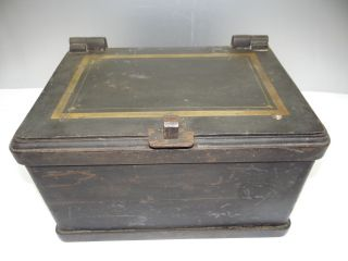 Antique Old Metal Cast Iron Reinforced Decorative Safe Strongbox Bank Nr photo