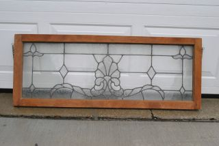 Antique Leaded Glass Transom Window With Shell And Lotus Design photo