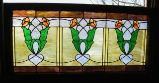 Antique Art Nouveau Stained Glass Window Ca.  1900s photo