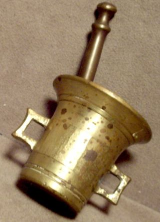 X - Solid Brass Small Two Handle Mortar & Matching 3 1/2
