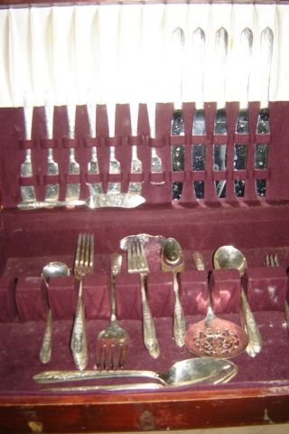 Vintage 1939 Royal Rose Nobility Plate Flatware Silverware 51 Pieces photo