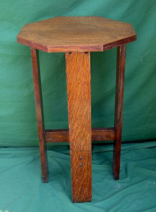 Antique Mission Solid Oak Octagonal Four Leg Stand photo