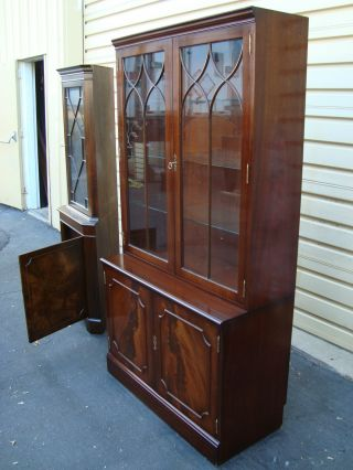 51189 Burled Mahogany 2 Piece China Cabinet Curio photo