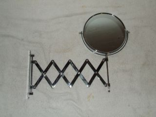 Vintage Barber Shop Telescoping Chrome Dual Mirror Wall Mount Magnifying Mirror photo
