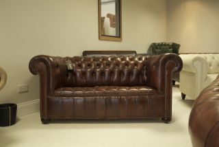 Antique Early 20thc Leather Chesterfield Sofa In Hand Dyed Russet Leathers photo
