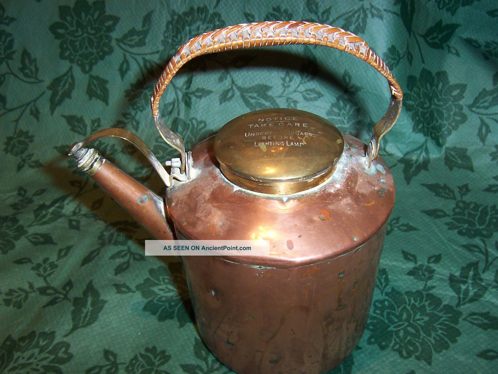 Antique / Vintage Copper Lamp ???? With Woven Leather Covered Handle 20th Century photo