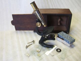 Early Brass & Iron Single Pillar Microscope Accessories & Wooden Box photo