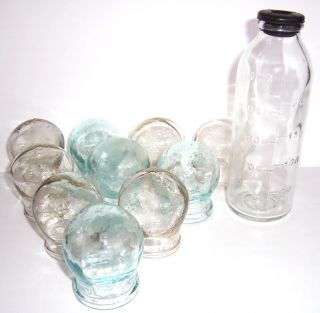 Lot 10 Vintage Russian Medical Bleeding Glass Cupping + Medicine Bottle 250 Ml photo