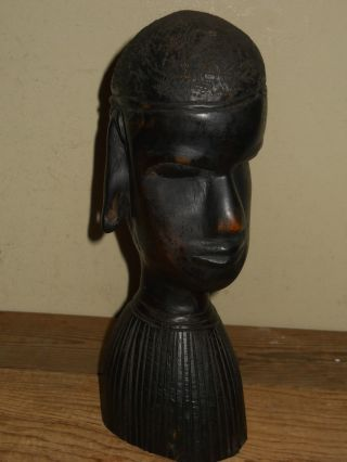 Older Vintage Ebony Wood Hand Carved African Tribal Art Bust Statue photo