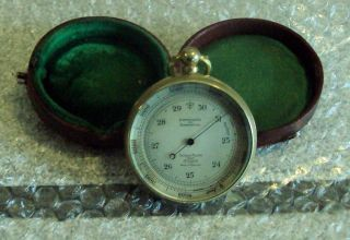 Antique Short & Mason Cased Traveling Pocket Barometer Altimeter Leather Case photo