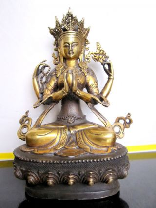 Tibet Buddhist Four - Armed Guanyin Bronze Statue photo