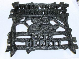 Black Americana Cast Iron Trivet Them That Works Hard Eats Hearty Baxter Sprs Ks photo