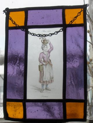 Antique Purple Orange Stained Glass Window Detailed Laitiere Women Paris 1600 photo