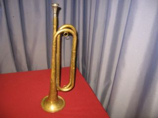 Vintage Antique Bugle Trumpet U S Regulation Brass Wind Instrument photo