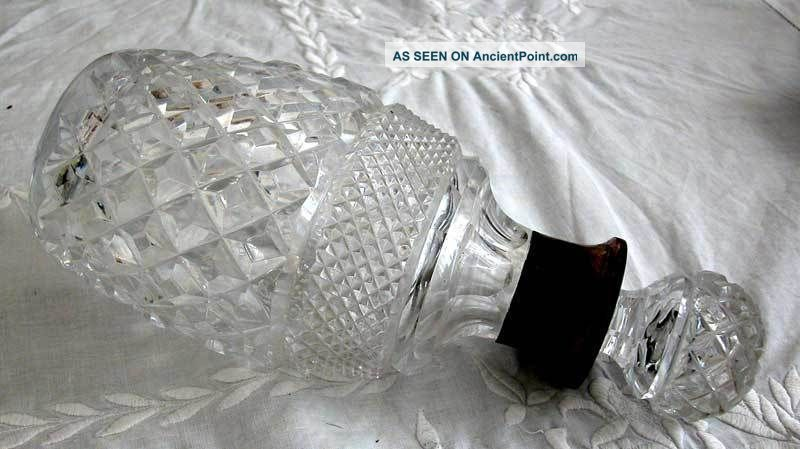 Antique U.  K Sterling Silver And Cut Glass Decanter 1928 United Kingdom photo