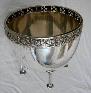 Antique U.  K Sterling Silver Bowl On 4 Legs photo