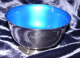 Towle Silversmiths Sterling Silver Bowl Blue Enamel 925 Mid Century Eames Era photo