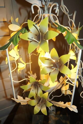 Vintage French Floral Metal Tole Light Chandelier Floral Metal Chic photo