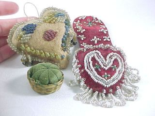 Antique Native American Beaded Thimble Shoe,  Sterling Thimble,  Pin Cushions,  Heart photo