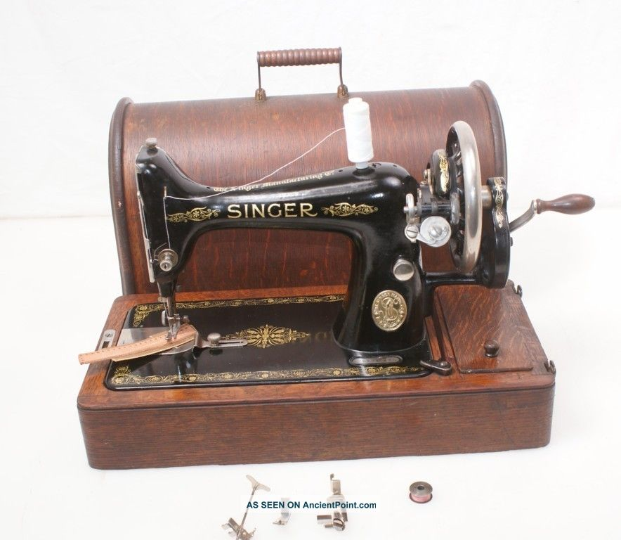1914 Singer 99 (k) Antique Hand Crank Sewing Machine Sews Ez Leather Sewing Machines photo