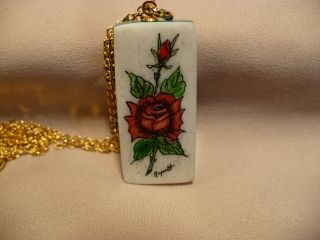 Scrimshaw Cow Bone & Jade Pendant Red Roses photo