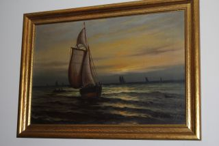 19th C Oil On Canvas Sailing Ship At Sea With Dingy With Men Signed photo