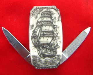 Nautical Scrimshaw Art,  Three Masted Tall Ship,  Money Clip,  Folding Knife/knives photo