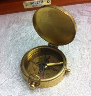 Vintage Ross Of London Brass Pocket Scientific Surveying Nautical Compass Dial photo