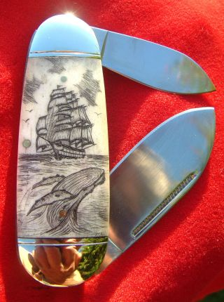 Nautical Scrimshawart,  Tall Ship,  Whales,  2 Blade Folding Knife/knives photo