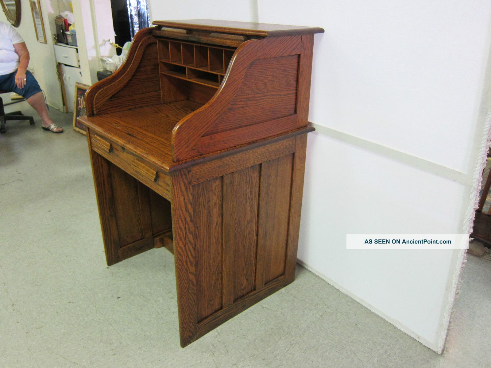 Awesome Antique Solid Oak S Roll Ladies Desk Circa 1910 Space Download Free Architecture Designs Scobabritishbridgeorg