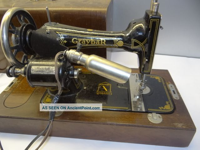 Antique Old Working Metal Iron Wood Graybar Model 1 Usa Sewing Machine W/ Case Sewing Machines photo