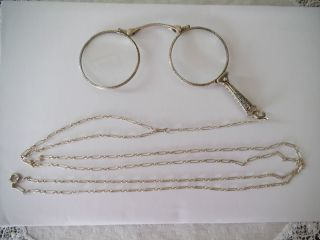 Sterling Silver Edwardian/victorian Lorgnette On Long Sterling Chain photo