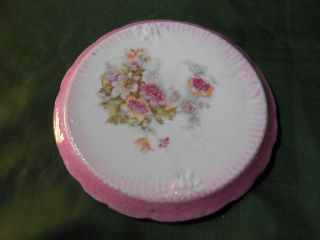 Victorian Era Floral Pattern,  Pink Trim,  Porcelain Trivet photo