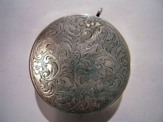 Antique Silver 800 Snuff Box Or Pill Box Beautifully Engraved photo