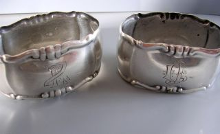 Pair Silver Napking Rings Decorative Initials Vintage photo