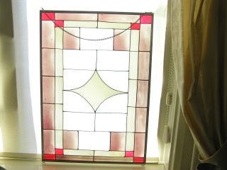 Vintage Stained Glass Window Panel 27 1/2