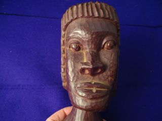 African Art /flea Market Find /carved Statue Sculpture 6in Tall Carved Hardwood photo