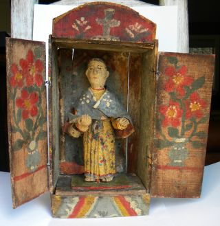Incredible Antique Mexican Nicho & Santo Fabulous Orig.  Paint + Folk Style photo