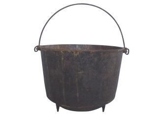 Large Footed Cast Iron Fireplace Pot Cauldron With Bail Handle photo