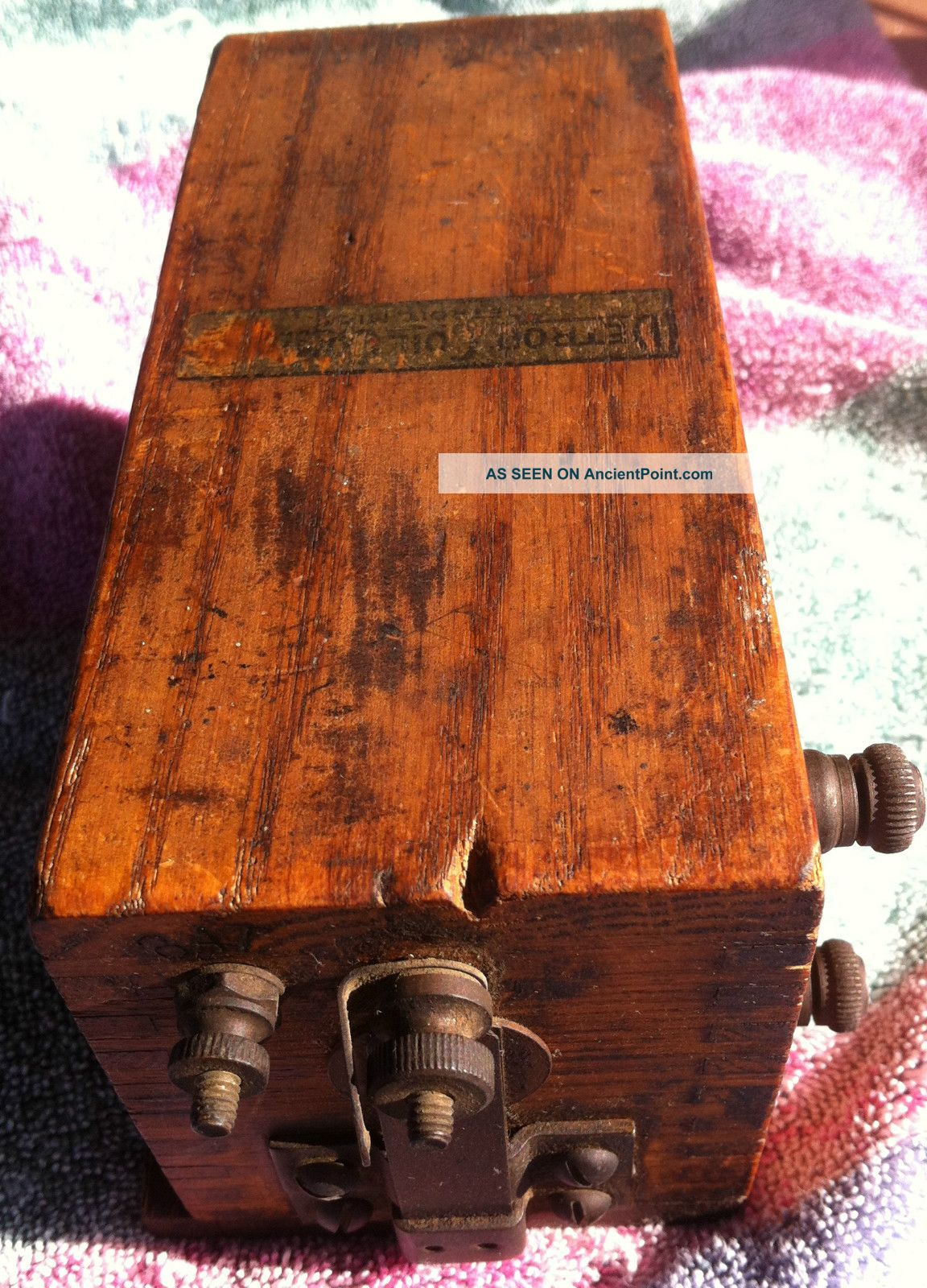 Vintage Detroit Coil Company Type L14 Oak Wood Buzz Box Michigan Telegraphs photo