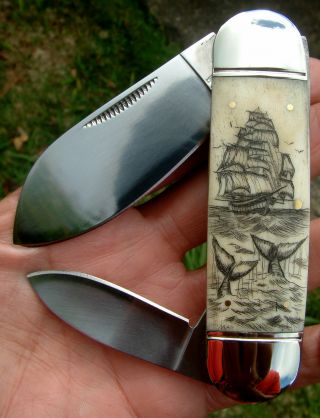 Scrimshaw Art,  Tall Ship,  Whales.  2 Blade,  Sunfish Folding Knife/knives photo