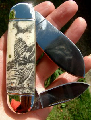Scrimshaw Art,  Tall Ship,  Breaching Whale,  Island Folding Knife/knives photo