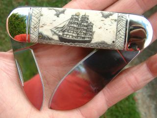 Scrimshaw Nautical Tall Ship,  Harpoon,  Tapa Print,  Folding Knife/knives photo