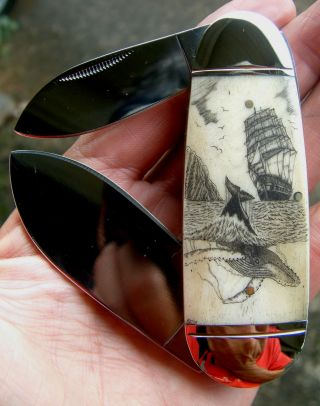 Scrimshaw,  Tall Ship,  Underwater Whale,  2 Blade Folding Knife/knives photo