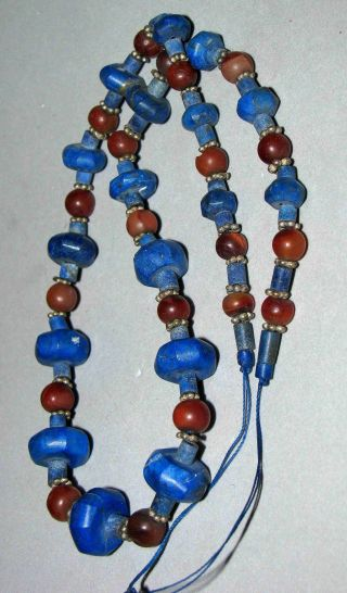 Old Afghan Lapis Lazuli Beads Octagonal,  Carnelian Early 1900s photo